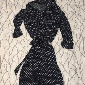 Jones New York navy blue polka dot dress